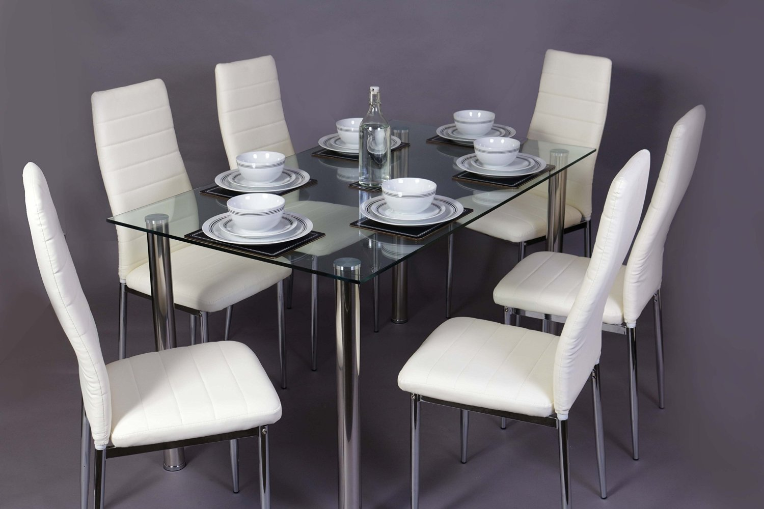 Glass Square Dining Room Table Set And 6 Chairs Faux Leather Chrome Cream Bla