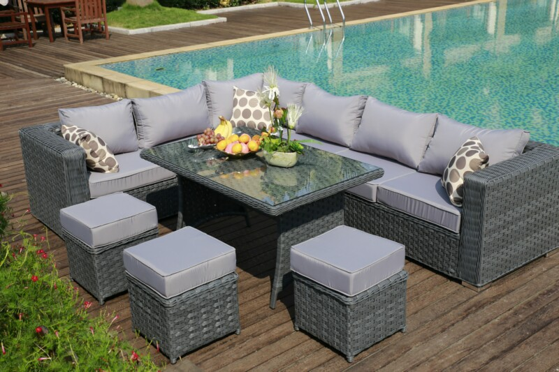 PAPAVER RANGE 9 Seater Rattan Corner Sofa Dining Set Garden Furniture Gr