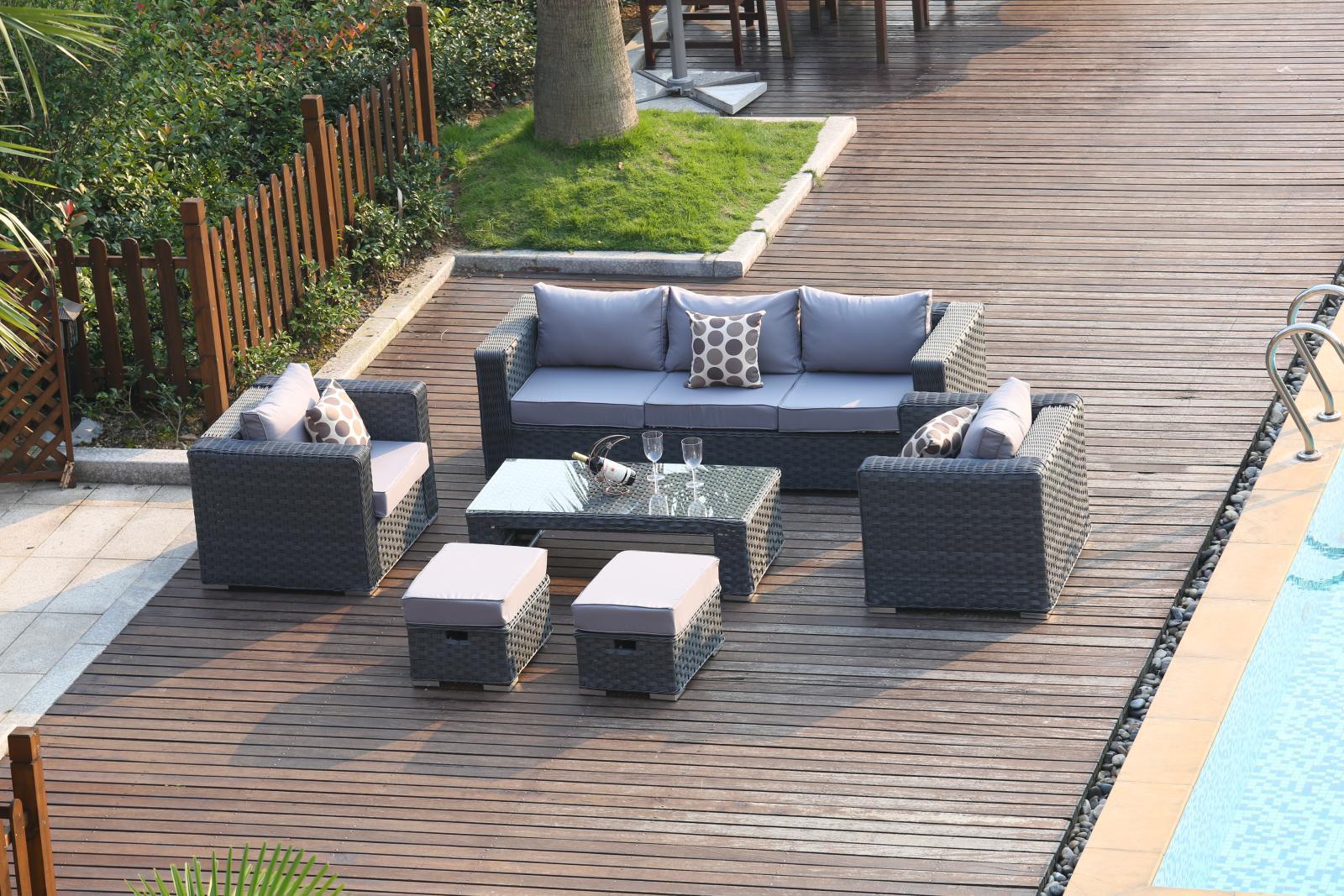 Papaver 7seater Rattan Sofa Set Patio Conservatory Garden