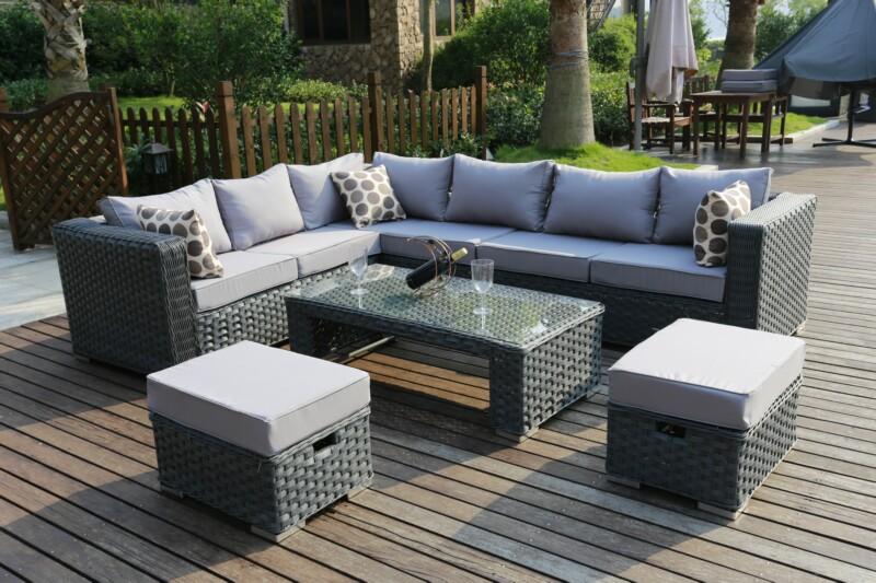 Rattan Garden Furniture Corner Sofa Grey: Conservatory MODULAR 9 Seater Rattan Corner Sofa Set