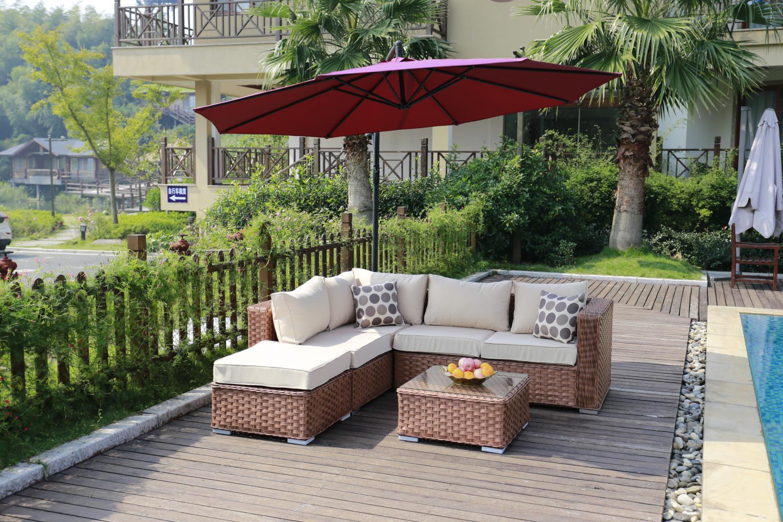 Conservatory Modular 5 Seater Rattan Corner Sofa Set