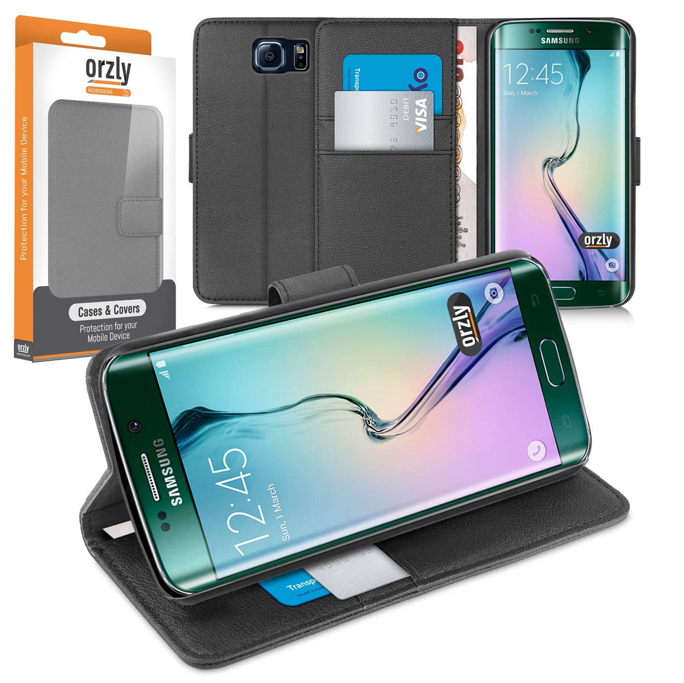 Galaxy S6 Edge Case Wallet Cover For Samsung Samsunggalaxy Note Black 1x Orzly Multi Functional
