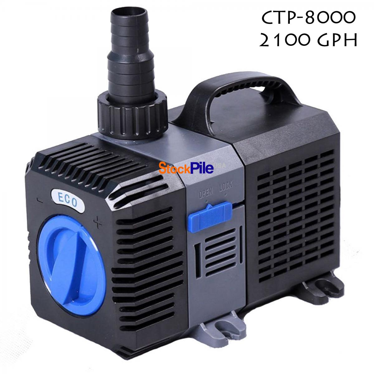 1200 4200 gph submersible pond pump inline fountain for Submersible pond pump and filter