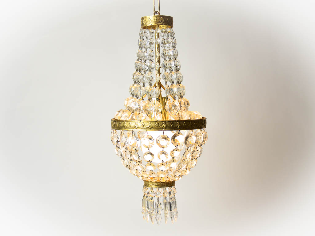 1960s French Vintage Crystal Chandelier Pendant Light