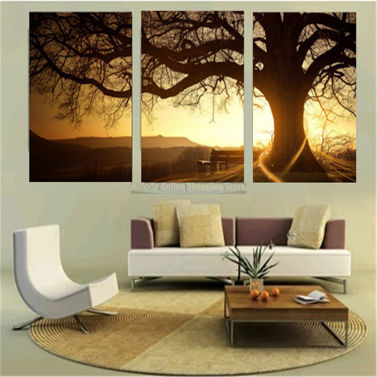 3pcs sunset tree canvas painting print seaside sunset wall decor art no frame ebay. Black Bedroom Furniture Sets. Home Design Ideas