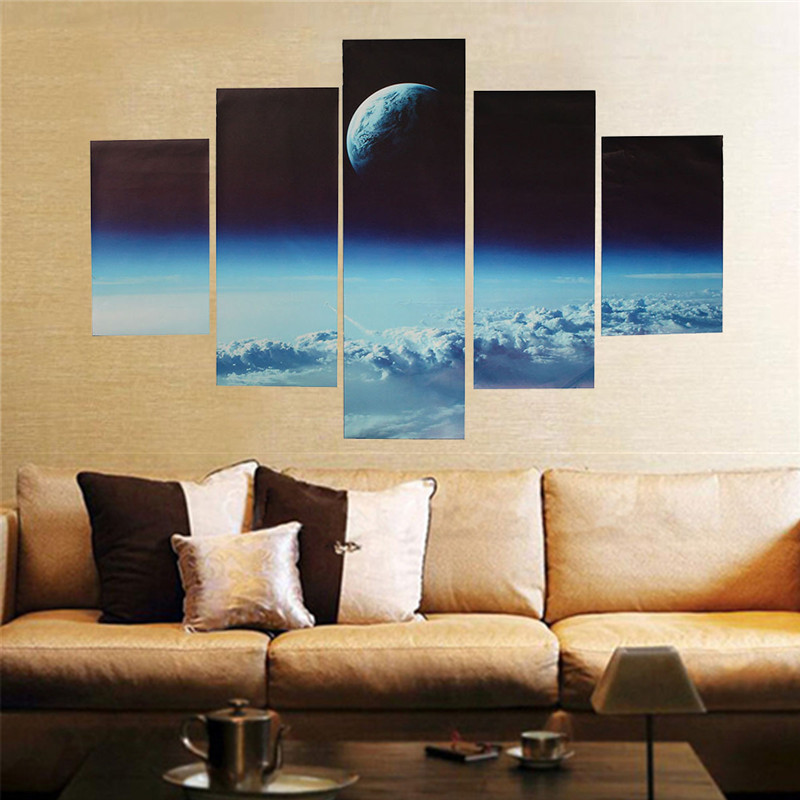 5pc living room canvas painting print outer space modern. Black Bedroom Furniture Sets. Home Design Ideas