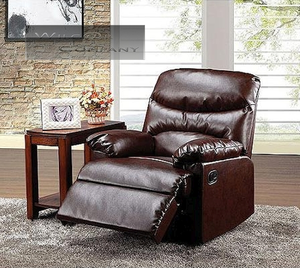New Dark Brown Leather Recliner Lazy Chair Reclining