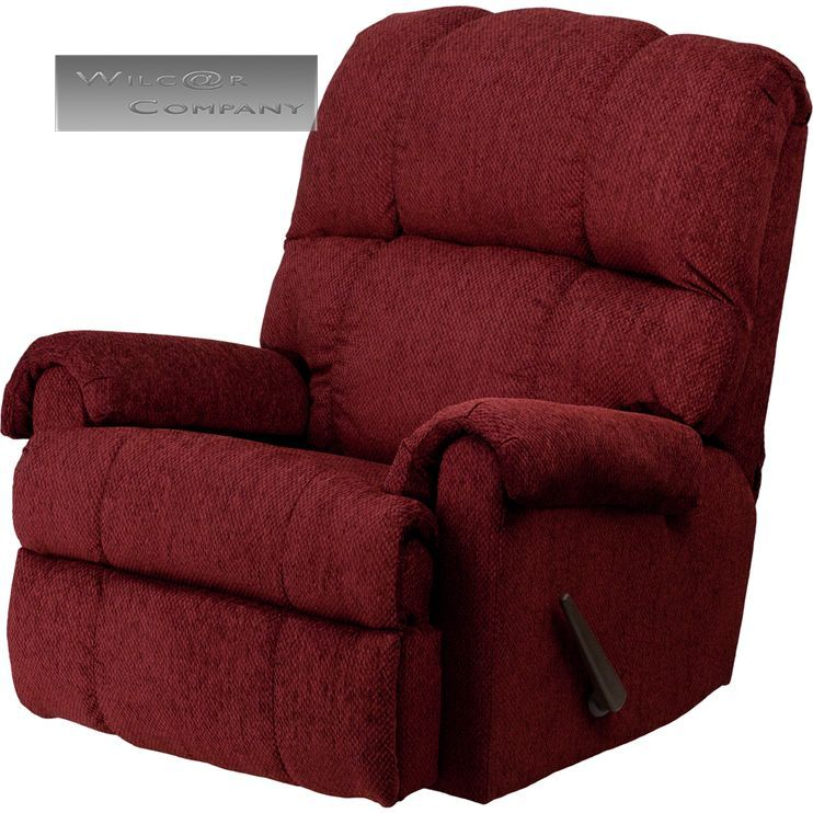 Red burgundy fabric rocker recliner lazy chair furniture - Fabric rocking chairs living room ...