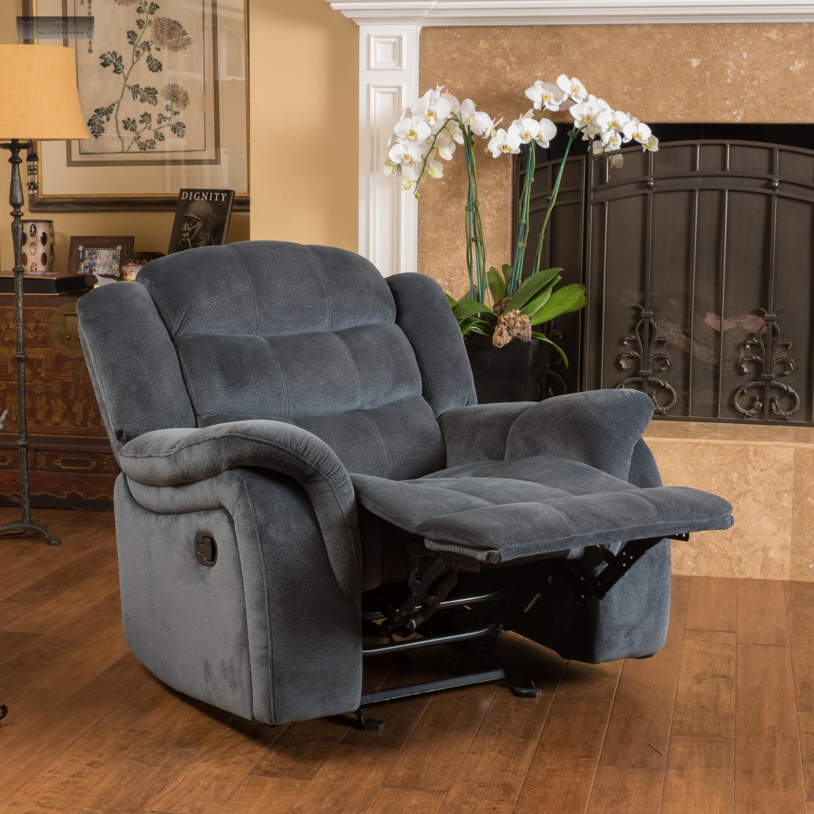 Brown Fabric Recliner Glider Lazy Chair Reclining Seat Living Room Furniture Boy