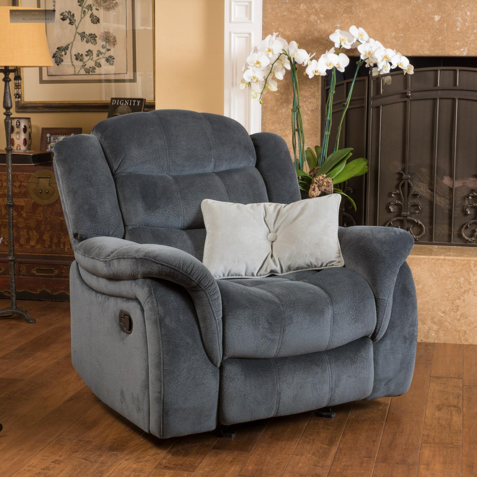 Grey Fabric Recliner Glider Lazy Chair Reclining Seat ...