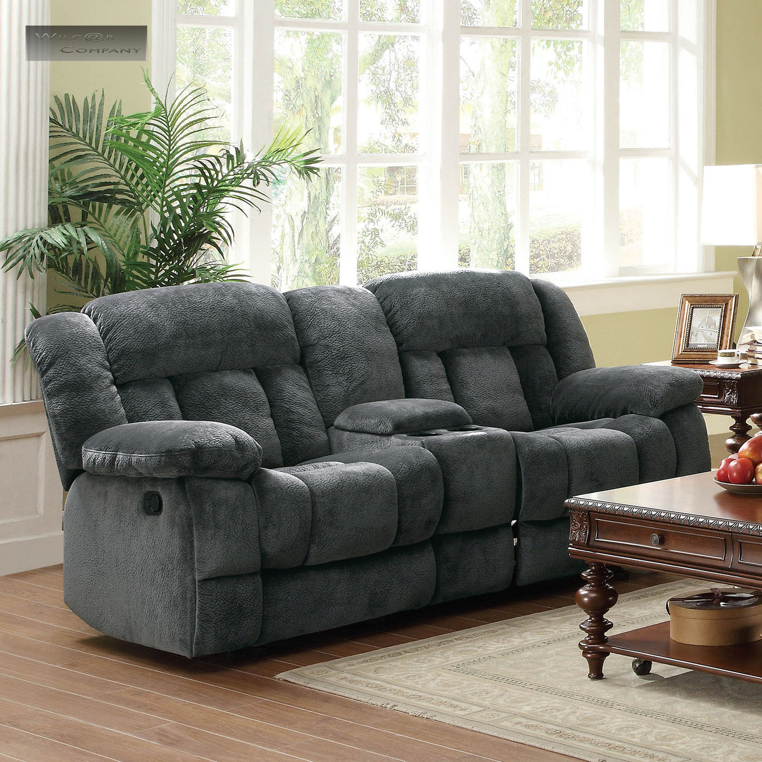 new grey rocker glider double recliner loveseat lazy sofa rocking reclining boy ebay. Black Bedroom Furniture Sets. Home Design Ideas