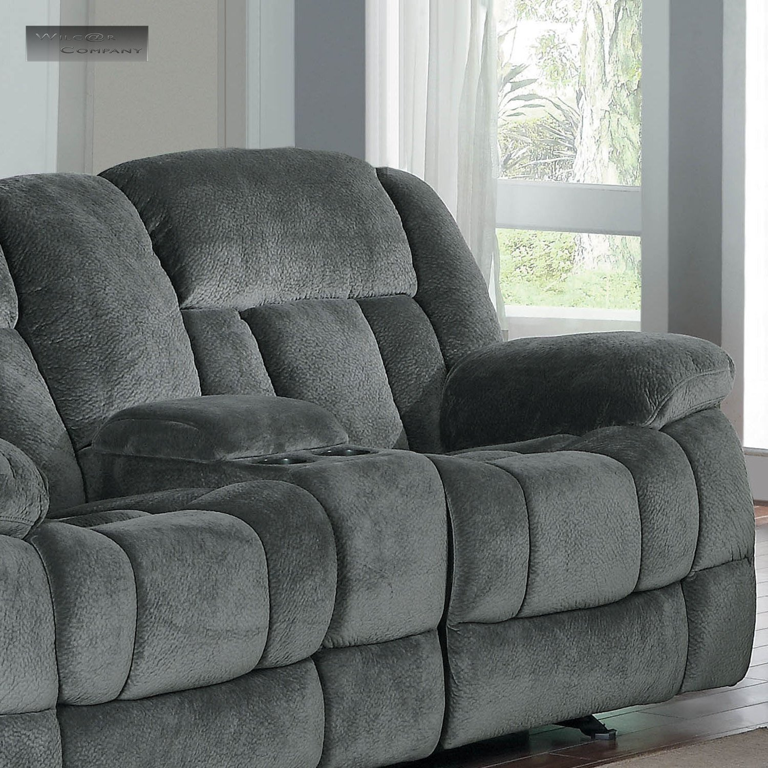 New Grey Rocker Glider Double Recliner Loveseat Lazy Sofa