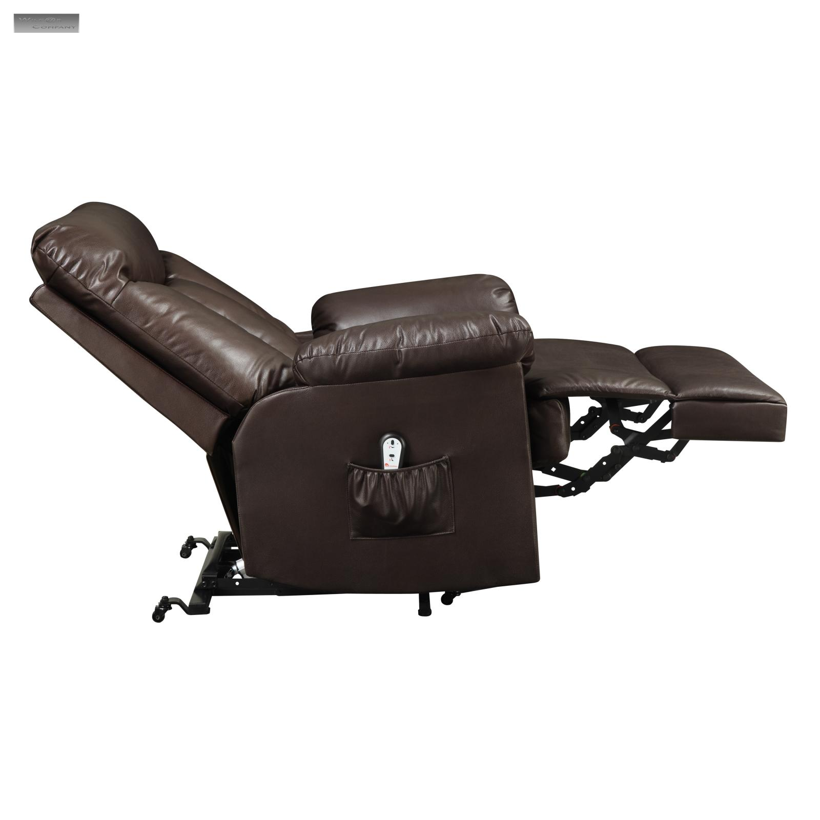 New Brown Lift Recliner Lazy Chair Leather Wall Hugger
