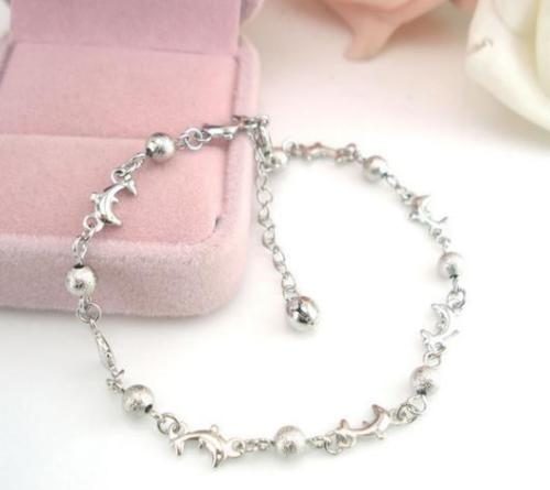 Bead & Dolphin Elegant Sexy Silver Anklet Foot Chain Ankle ...