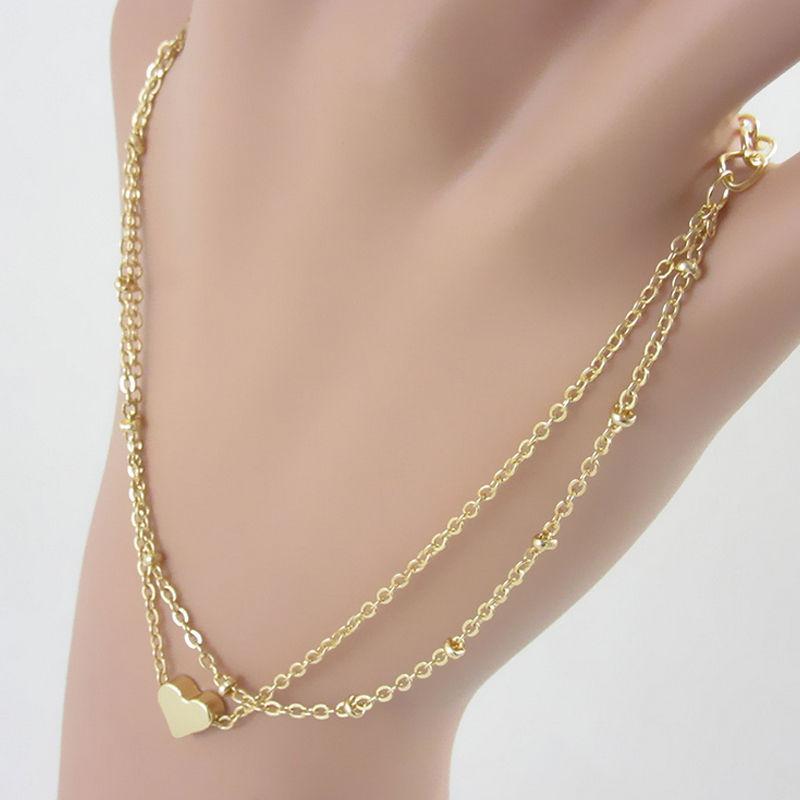 Elegant Double Chain Heart Bead Anklet Ankle Bracelet ...