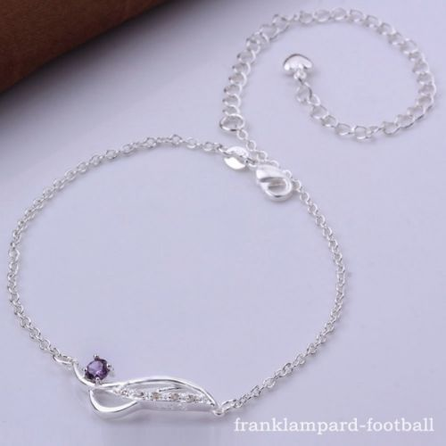 Elegant Purple Gem 925 Silver Anklet Foot Chain Ankle ...