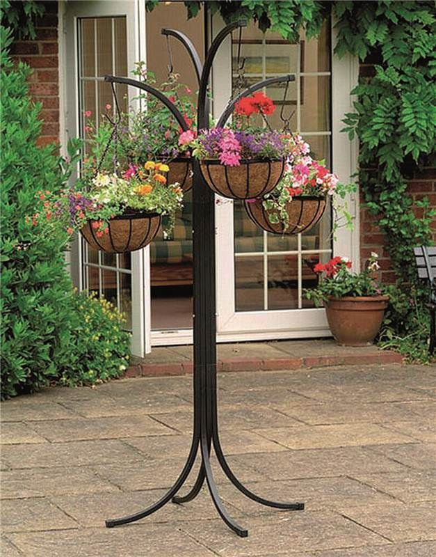 Flower Garden Stand 4 Hanging Plant Pot Holder Patio Decor ... on Stand For Hanging Plants  id=79761