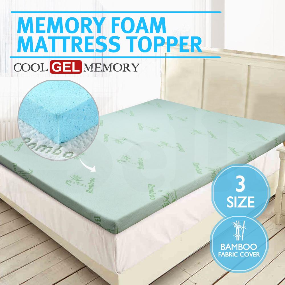 Cool Gel Memory Foam Mattress Topper Bamboo Fabric Cover