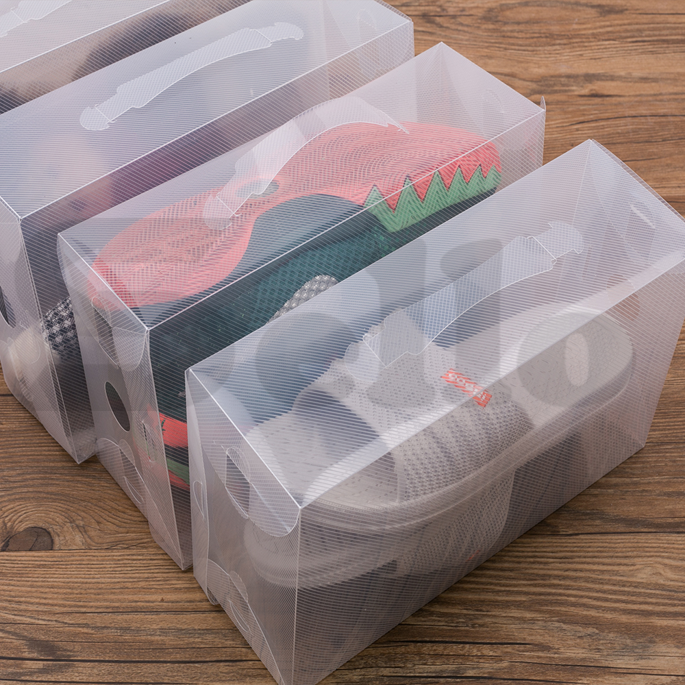 20x transparent clear plastic shoe storage box foldable boxes lot bulk. Black Bedroom Furniture Sets. Home Design Ideas