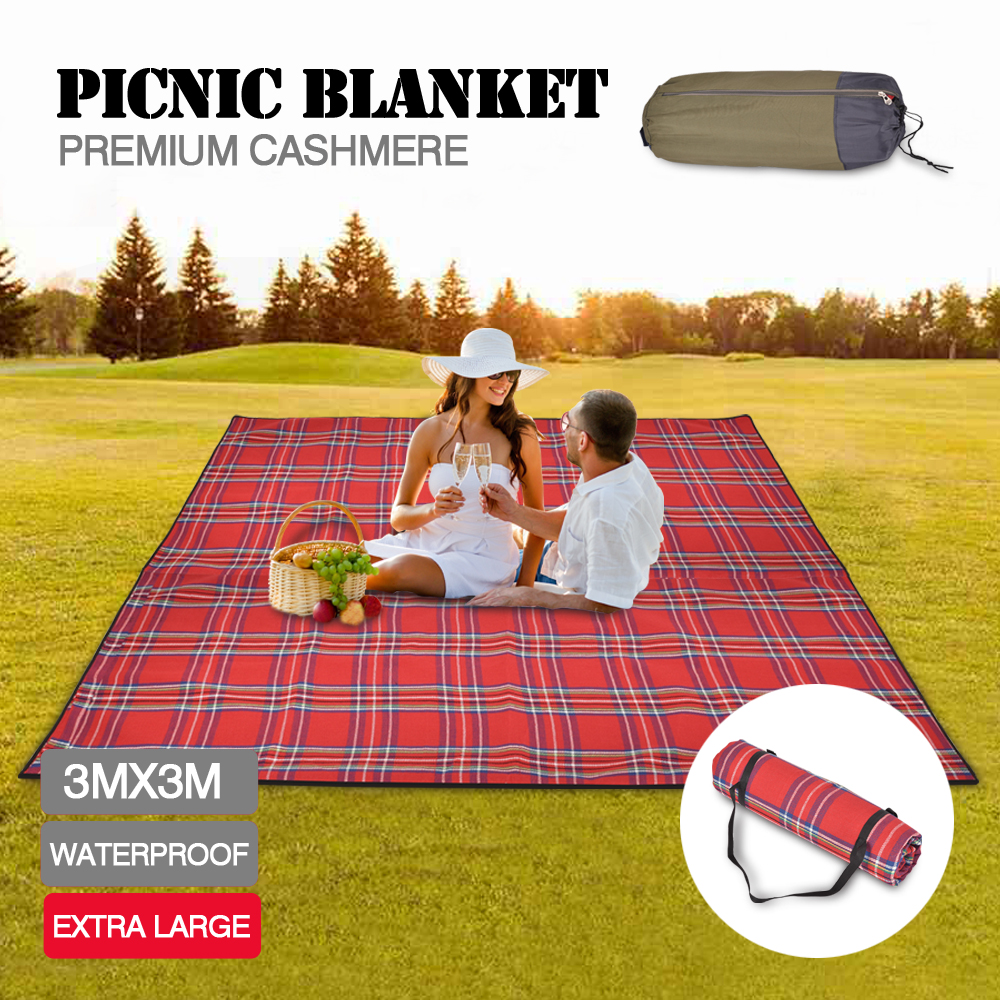 3x3m extra large picnic blanket cashmere rug waterproof for Au maison picnic blanket