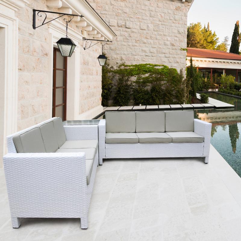 luxurygarden white rattan garden furniture corner sofa set outdoor conservatory patio wicker