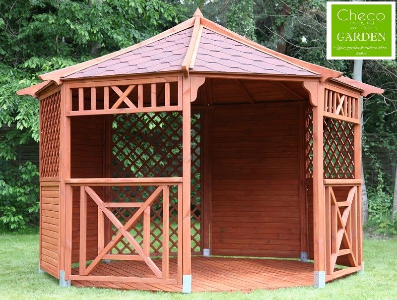 Garden wooden gazebo hot tub octagonal diameter ex4 for Wooden gazebo for hot tub
