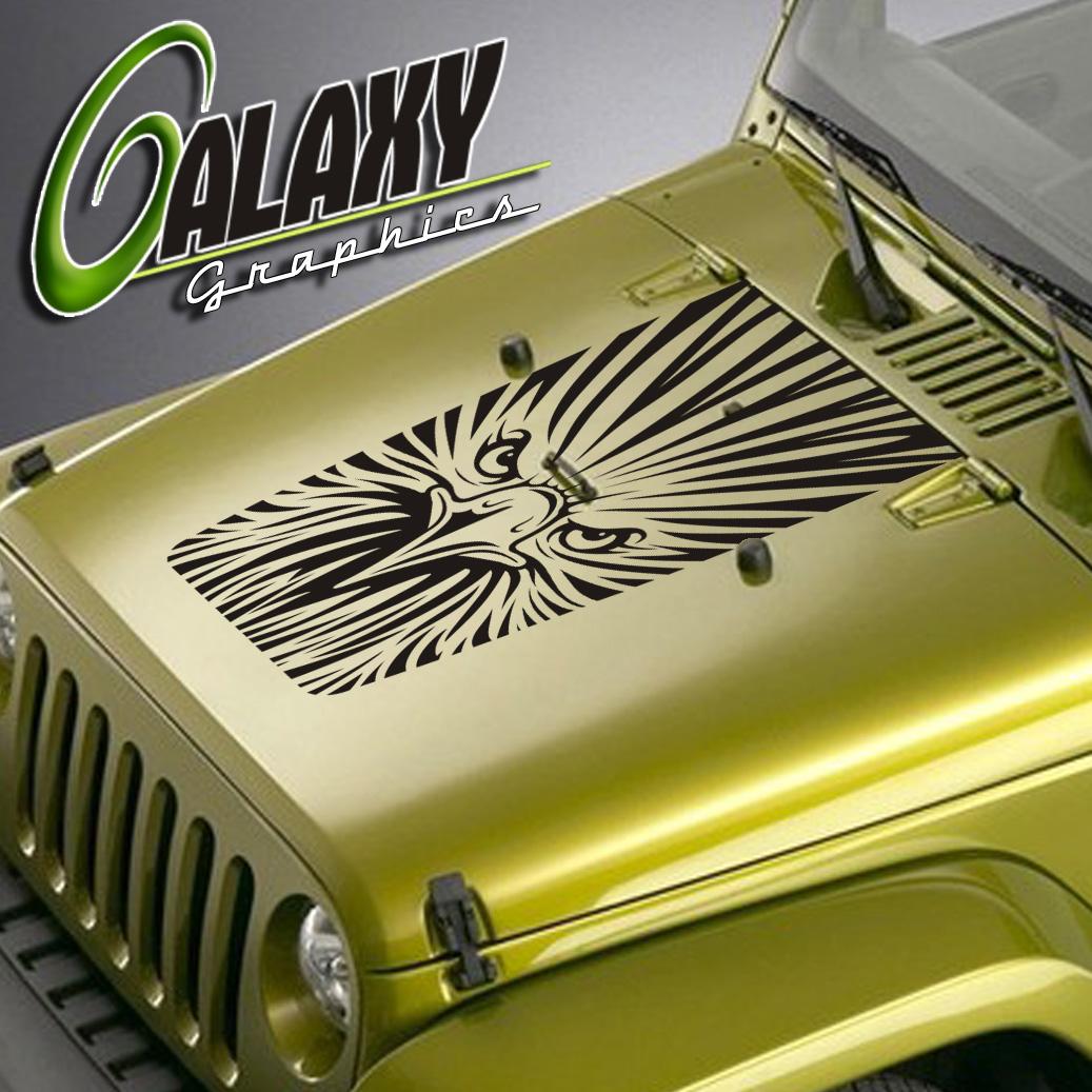 Details about jeep wrangler blackout hood deca eagle face design matte black sticker tj lj jk