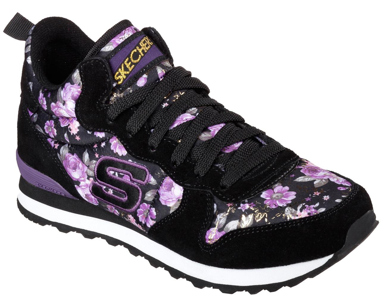 Skechers 121 Og 85 Women S Black Purple Hollywood Rose Ebay