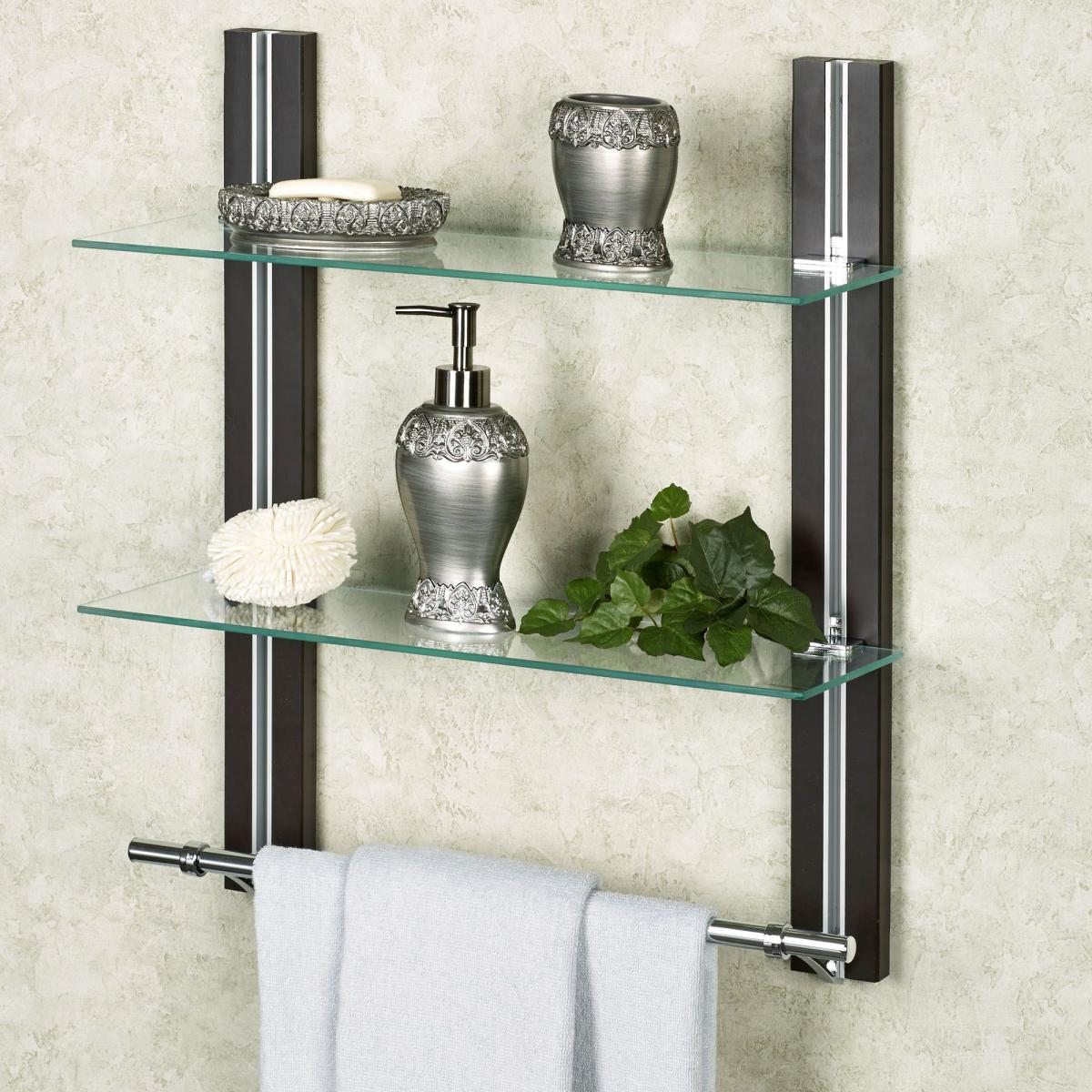 Bathroom Glass Shelf Organizer with Towel Holder 2 Tire ...