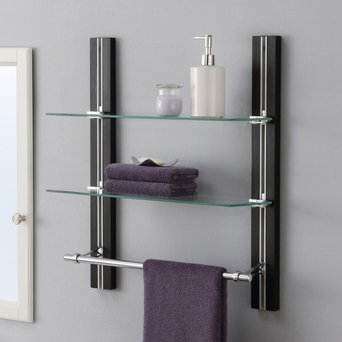 Bathroom Glass Shelf Organizer with Towel Holder 2 Tire Adjustable ...