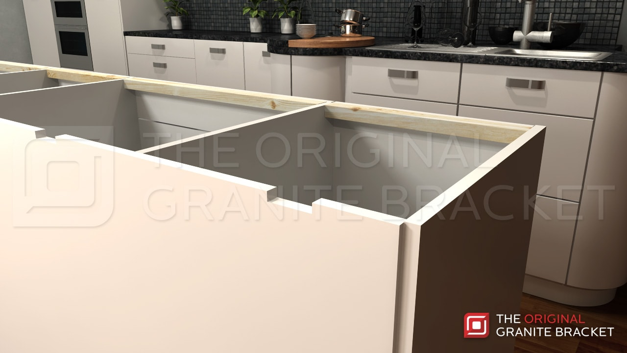 Kitchen island countertop support bracket protect your for Support granite overhang