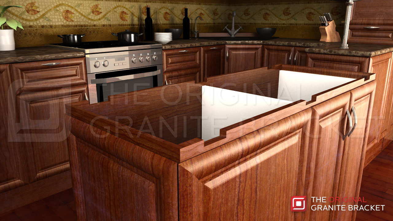 Kitchen Bar Granite Countertop With Hidden Chairs