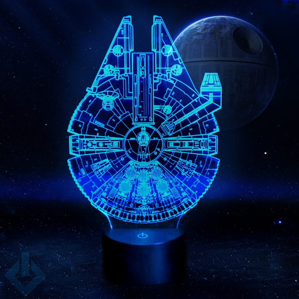 millennium falcon model star wars light lamp led sign geek decor at hd 10179 ebay. Black Bedroom Furniture Sets. Home Design Ideas