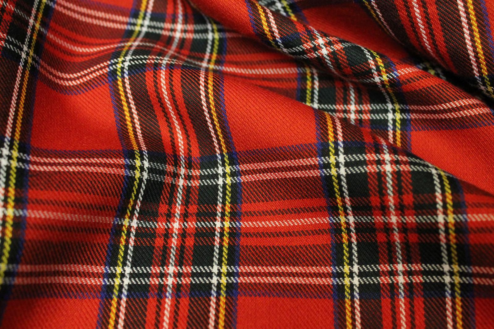Genuine Red Royal Stewart Tartan Woven Poly-Viscose Craft