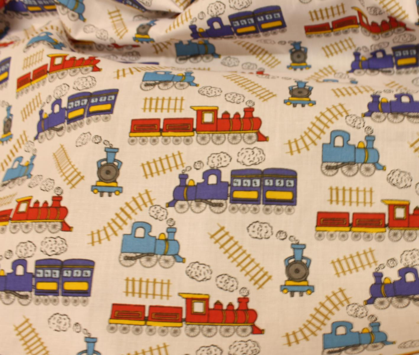 Thomas the tank engine train rail track cotton print dress for Train print fabric