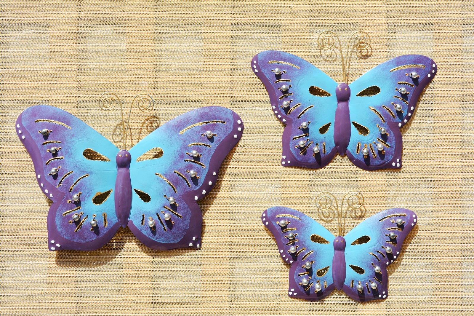 Snap SET OF THREE INDOOR OUTDOOR METAL BUTTERFLY WALL ART ... photos ...