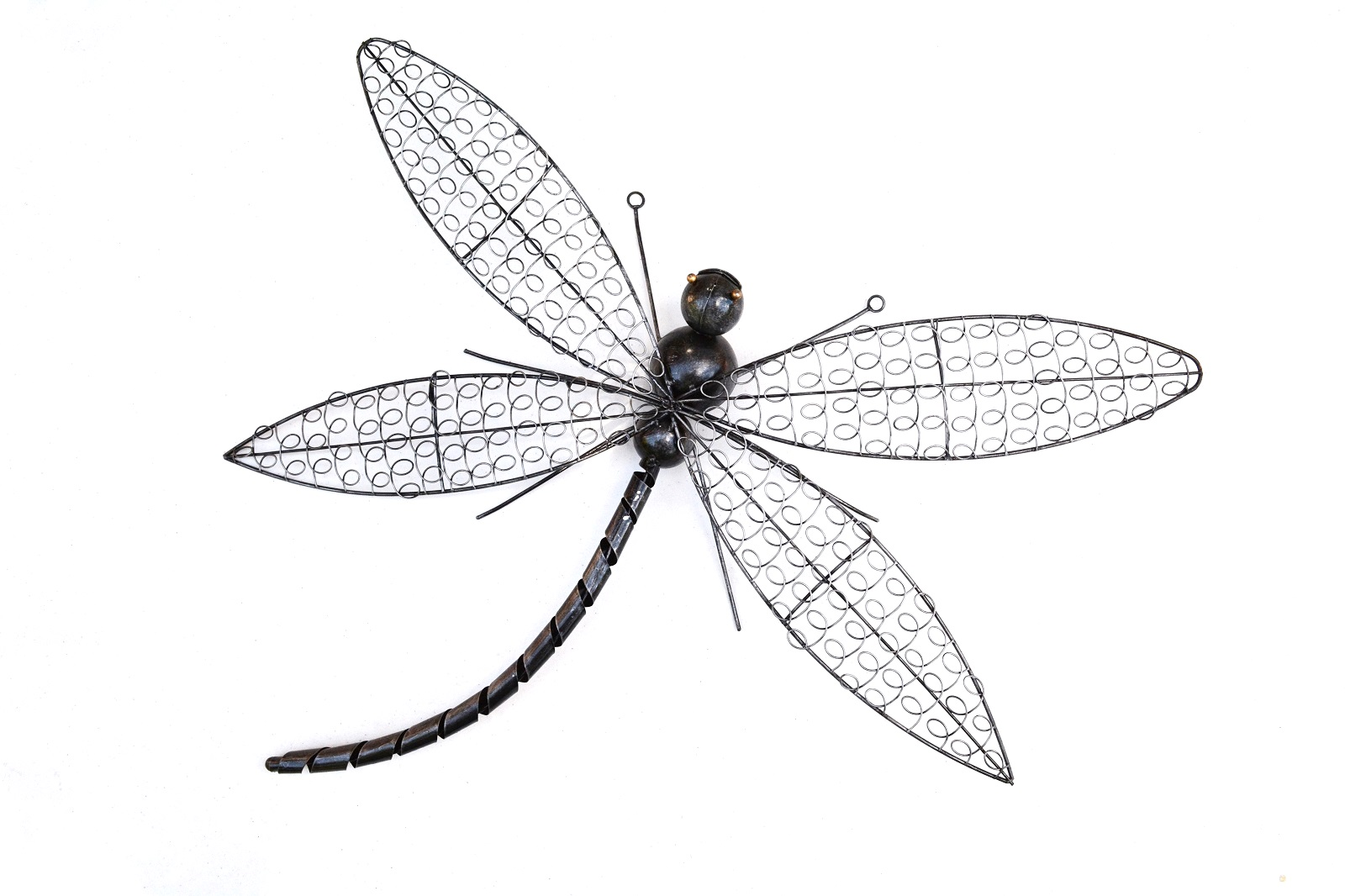 Dragonfly wire metal wall art plaque silver grey indoor for Dragonfly wall art