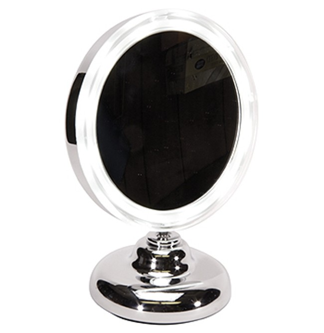 kingsley lighted round vanity mirror on stand m105 ebay. Black Bedroom Furniture Sets. Home Design Ideas