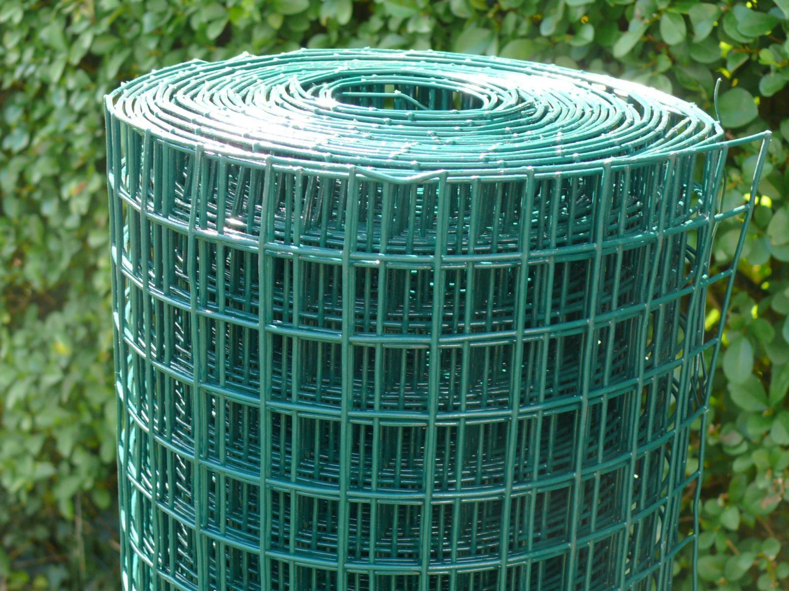 Welded wire mesh roll m green plastic pvc coated