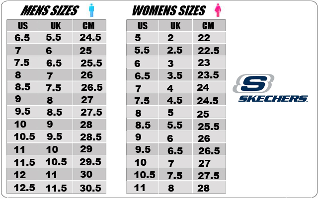 Skechers Shoe Size Chart Inches