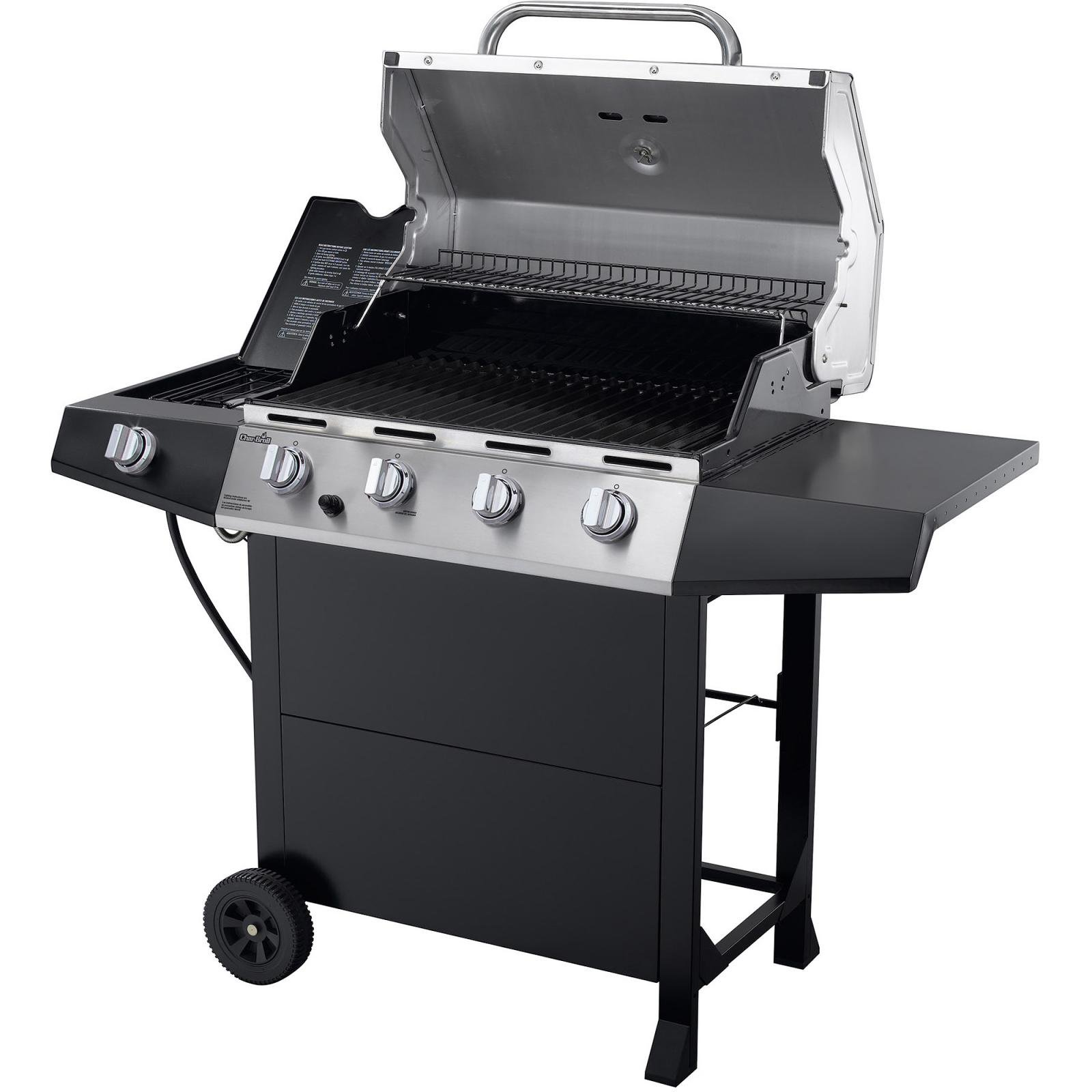 Char broil 4 burner gas grill bbq with side burner stainless steel barbeque new ebay - Grill for bbq stainless steel ...