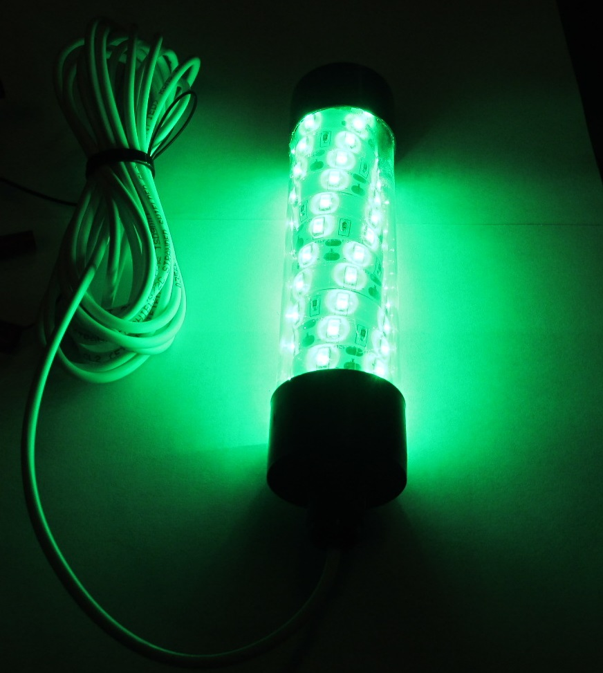 12v led green underwater submersible night fishing light for Night fishing lights for boats
