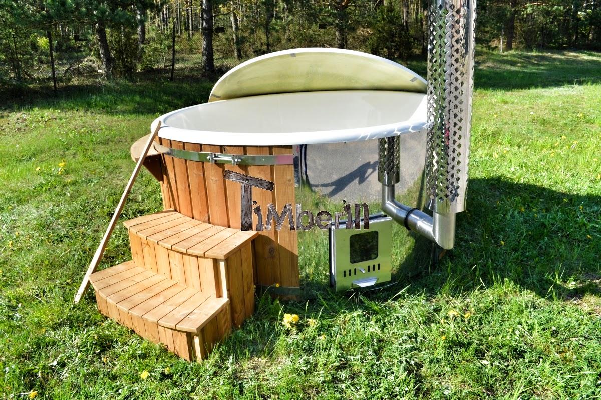 badetonne badefass badezuber badebottich hot pot mit fieberglas einsatz wellness ebay. Black Bedroom Furniture Sets. Home Design Ideas
