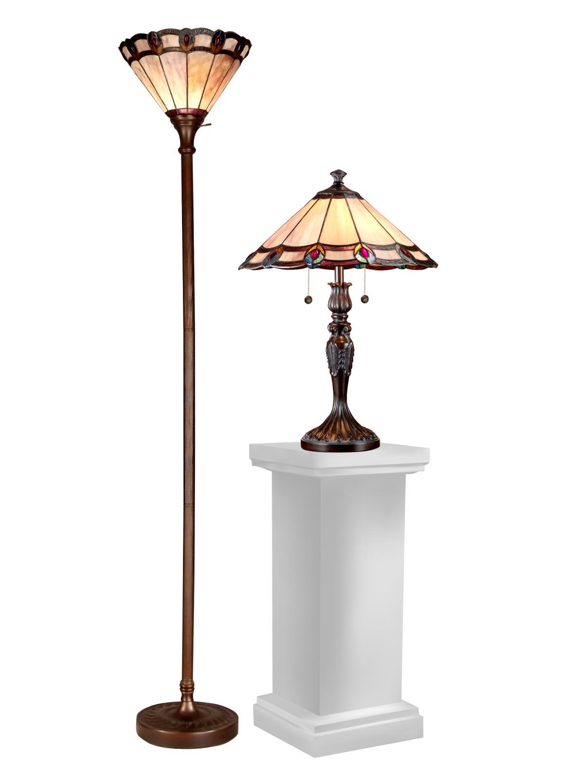 2 Dale Tiffany Peacock Table Floor Lamps Set Lighting