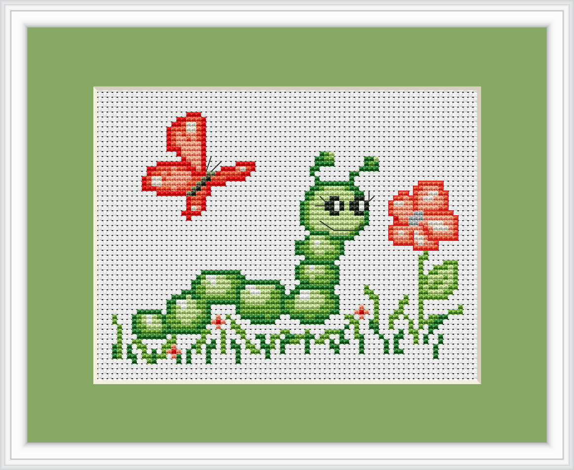 Caterpillar and butterfly cross stitch kit by luca s ideal