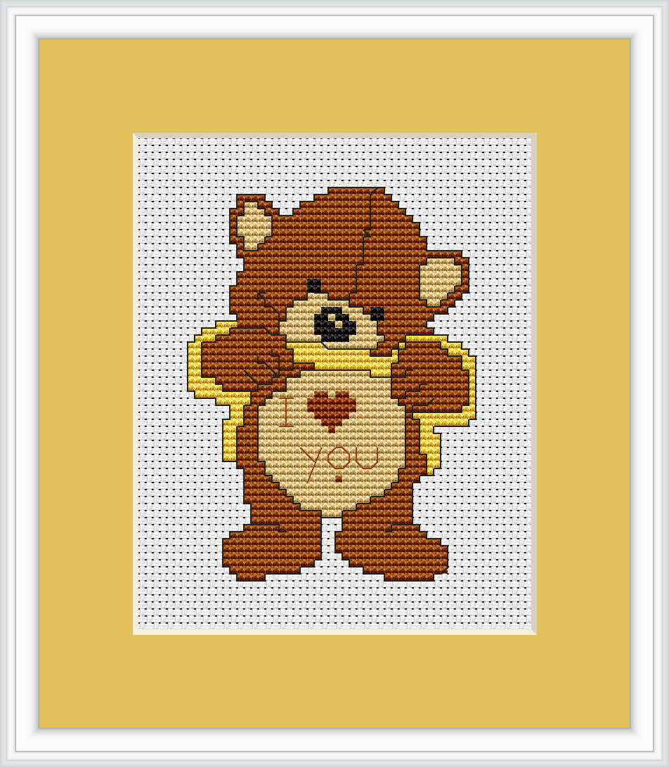 Love me bear cross stitch kit by luca s ideal for beginner