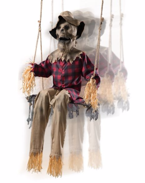 Animated scarecrow halloween prop hay straw man zombie for Animated scarecrow decoration