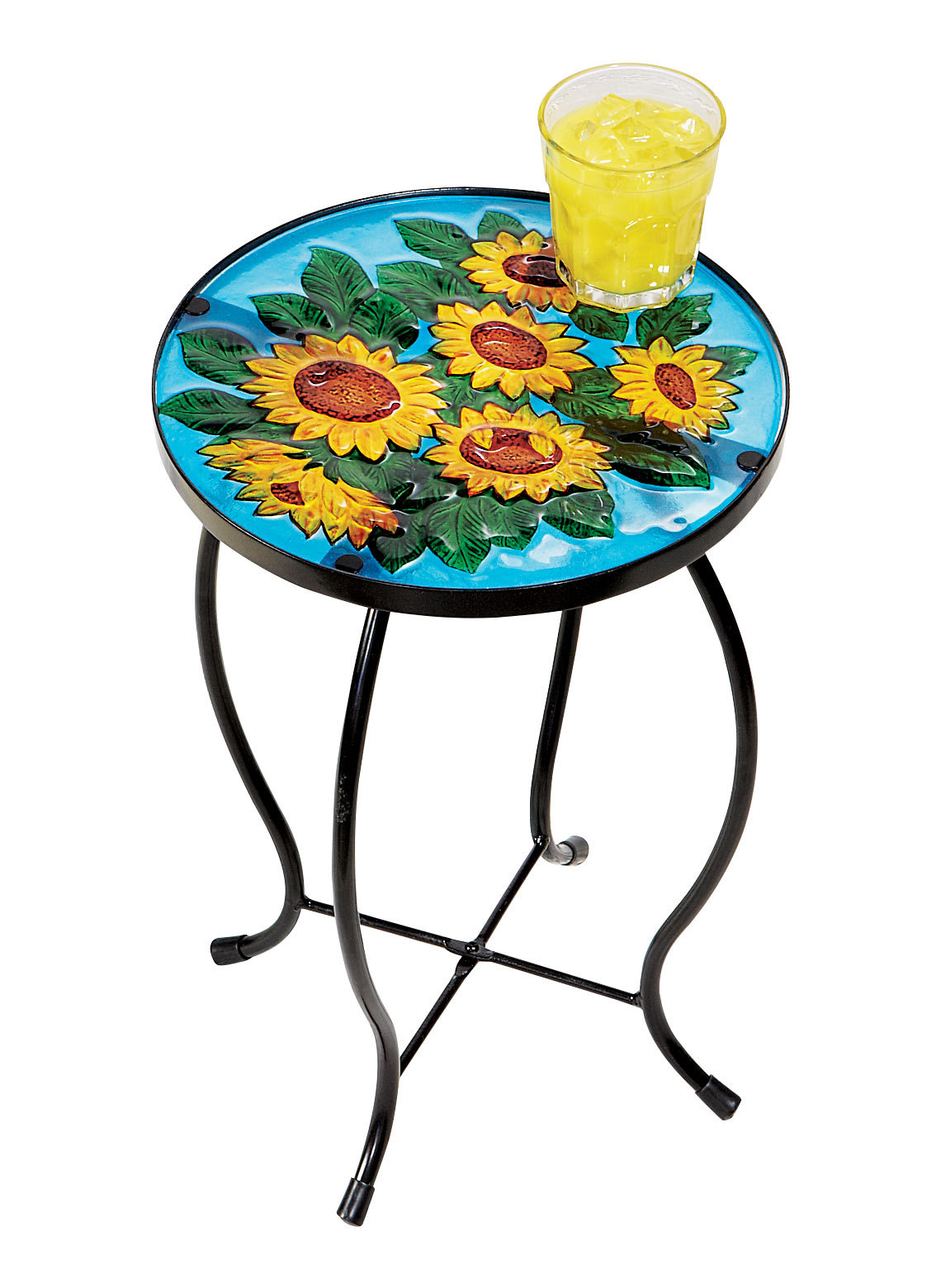 Sunflower side end table stand plant flower pot holder glass metal patio iron ebay - Flower pot stands metal ...