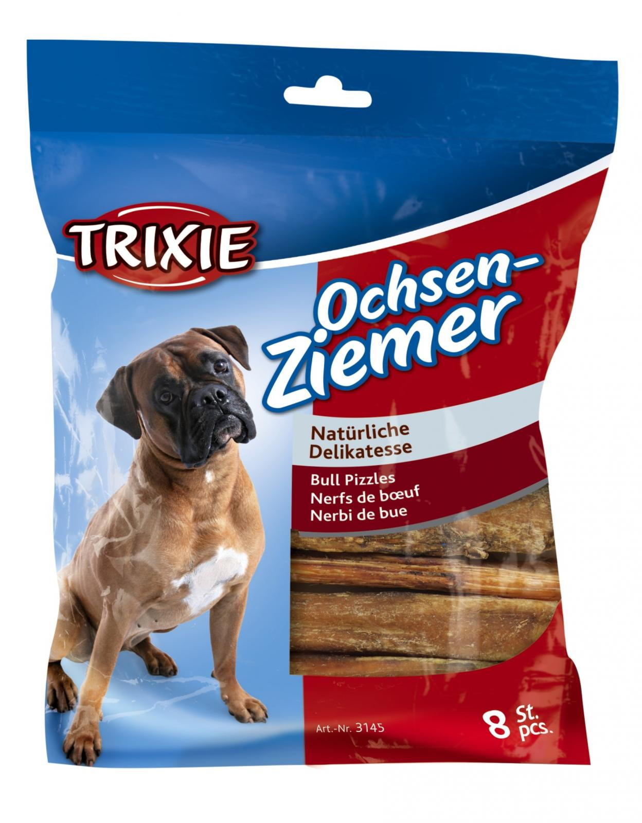 trixie bull pizzles bully sticks pack of 8 dog treats chews 100g mpn 3145 ebay. Black Bedroom Furniture Sets. Home Design Ideas