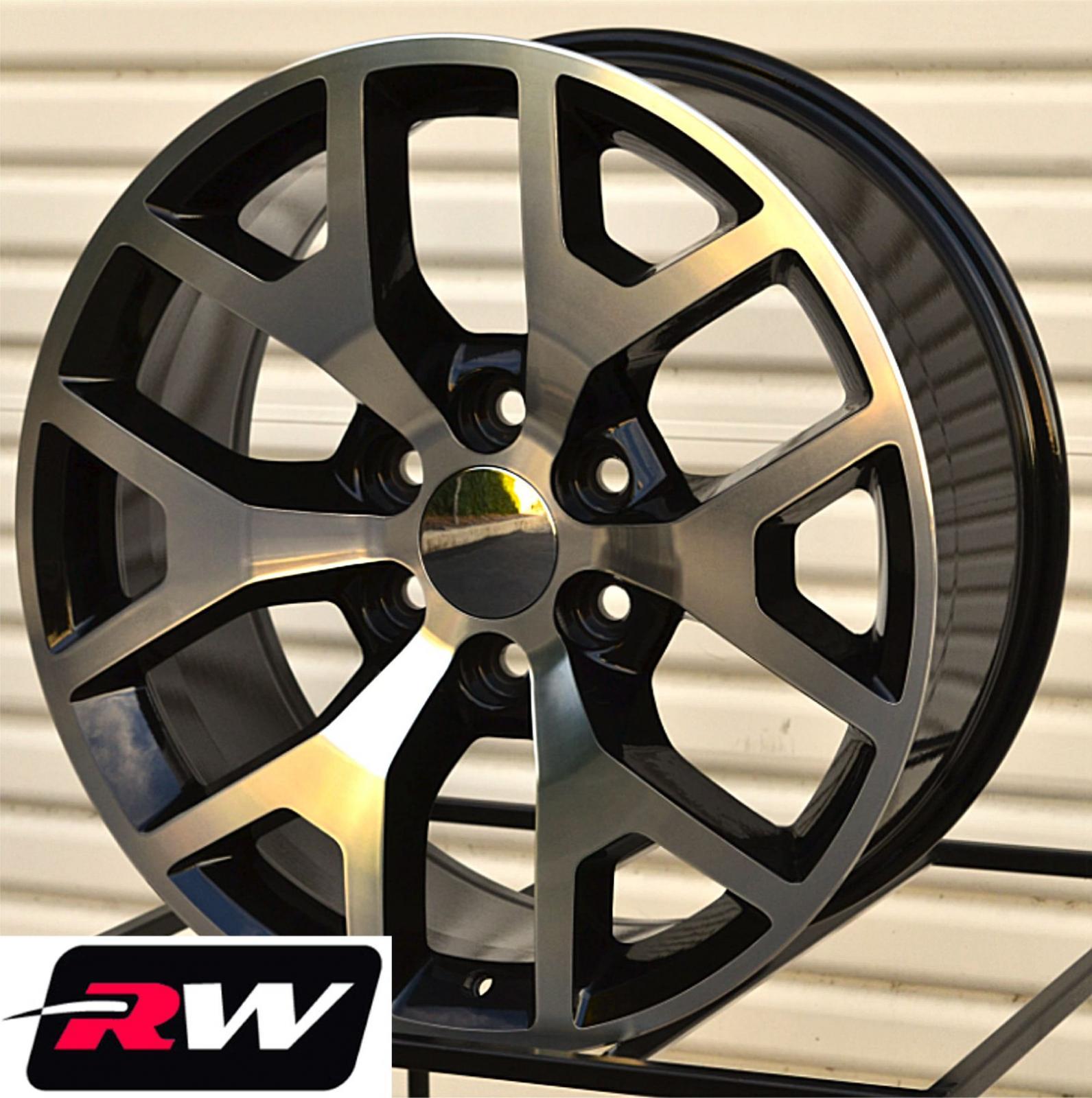 "Chevy Colorado Lug Pattern >> 2014 GMC Sierra Wheels Black Machined 20"" inch Chevy Silverado Suburban Tahoe | eBay"